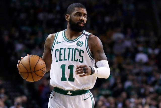 "<a class=""link rapid-noclick-resp"" href=""/nba/players/4840/"" data-ylk=""slk:Kyrie Irving"">Kyrie Irving</a> is a basketball player, but the Walmart yodeling kid wants Kyrie to sing a Hank Williams Sr. duet with him. (AP Photo/Charles Krupa)"