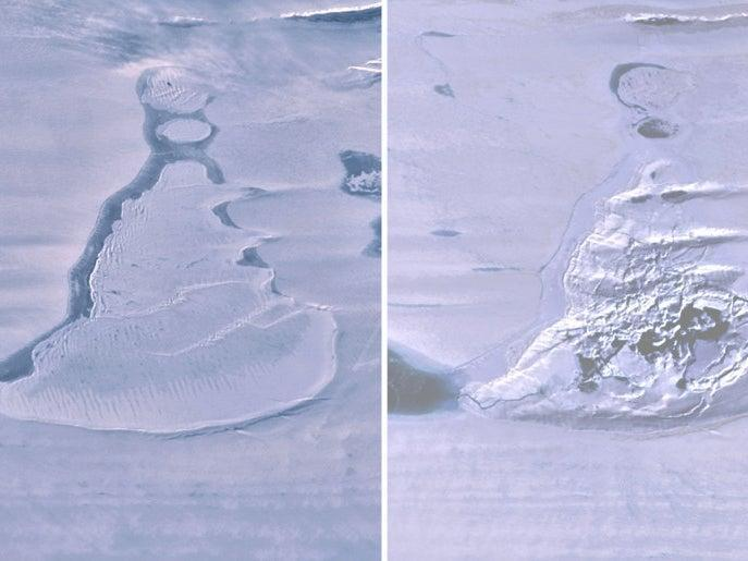 Before and after images of the lake (L) and subsequent ice-strewn crater (R) captured a few days apart by NASA's ICESat-2  (Scripps Institution of Oceanography)