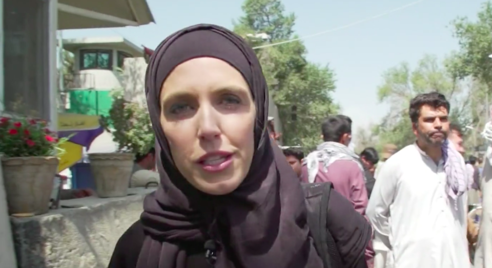 CNN reporter Clarissa Ward was asked to stand aside by Taliban fighters 'because I'm a woman'. (CNN)