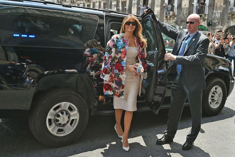 "<p>For the G7 economic summit in Italy back in May 2017, the first lady thought it was fitting to wear a <a href=""https://www.popsugar.com/fashion/Melania-Trump-Wears-51000-Coat-43580963"" rel=""nofollow noopener"" target=""_blank"" data-ylk=""slk:$51,000 Dolce & Gabbana coat"" class=""link rapid-noclick-resp"">$51,000 Dolce & Gabbana coat</a>. Dolce & Gabbana decided to fire back at Melania Trump ""haters"" by <a href=""https://fashionista.com/2017/06/boycott-dolce-gabbana-tshirts"" rel=""nofollow noopener"" target=""_blank"" data-ylk=""slk:designing"" class=""link rapid-noclick-resp"">designing</a> $245 #BoycottDolceandGabbana shirts. So, uh, yeah. </p>"