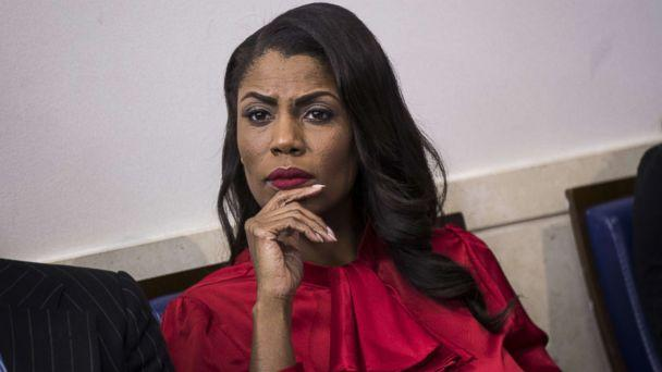 PHOTO: Then Director of Communications for the White House Public Liaison Office Omarosa Manigault Newman listens during the daily press briefing at the White House, Oct. 27, 2017, in Washington, DC. (Drew Angerer/Getty Images, FILE)