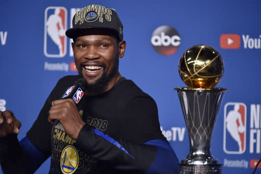 CLEVELAND,OH - Finals MVP Kevin Durant #35 of the Golden State Warriors speaks to the media after defeating the Cleveland Cavaliers in Game Four of the 2018 NBA Finals on June 8, 2018 at Quicken Loans Arena in Cleveland, Ohio. (Photo by David Liam Kyle/NBAE via Getty Images)