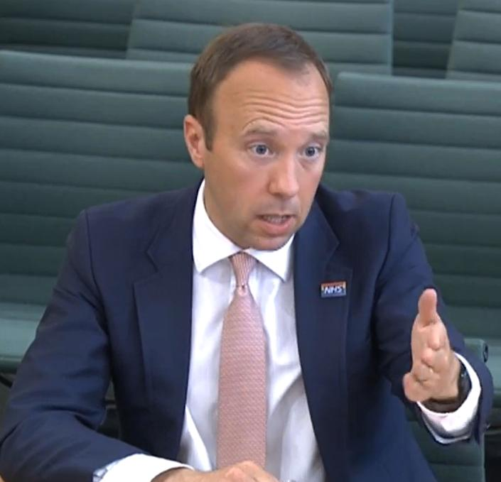 Health Secretary Matt Hancock giving evidence to the Science and Technology Committee and Health and Social Care Committee on Thursday. (PA)