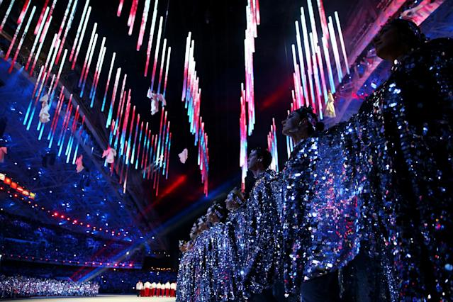 SOCHI, RUSSIA - FEBRUARY 23: Dancers perform during the 2014 Sochi Winter Olympics Closing Ceremony at Fisht Olympic Stadium on February 23, 2014 in Sochi, Russia. (Photo by Paul Gilham/Getty Images)