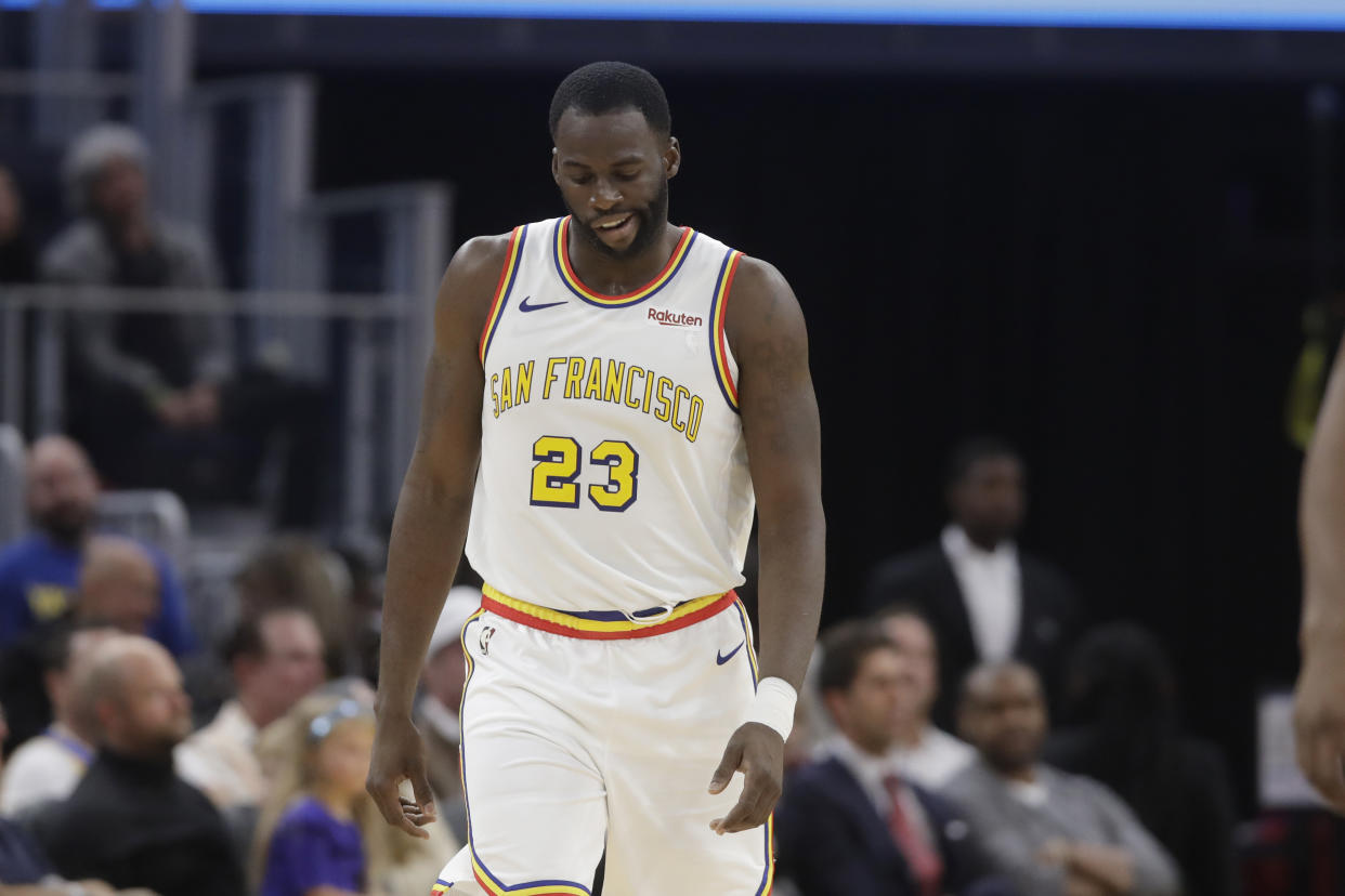 Warriors forward Draymond Green suffered a ligament injury during Friday's game against the Spurs. (AP Photo/Jeff Chiu)