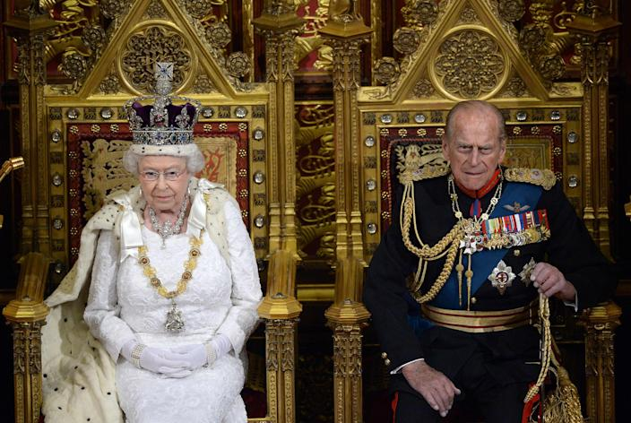 Queen Elizabeth II and her husband, Prince Philip, Duke of Edinburgh, during State Opening of Parliament in London, in May 2010.
