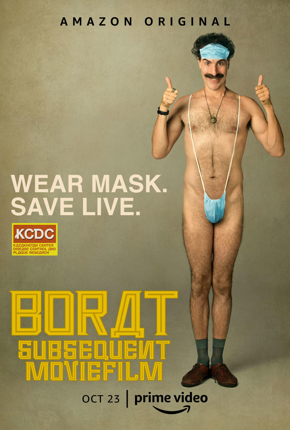 New poster for 'Borat Subsequent Moviefilm'. (Credit: Amazon)