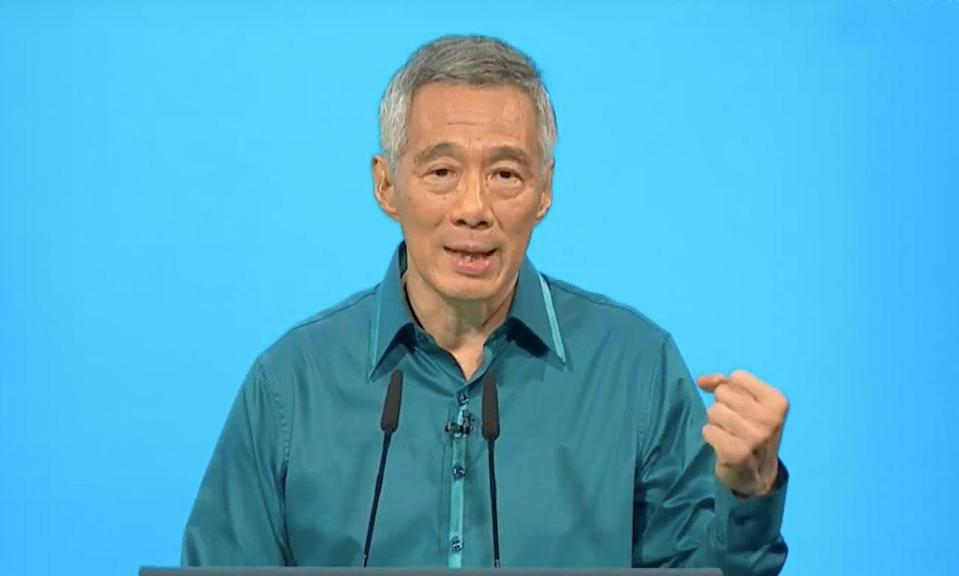 Prime Minister Lee Hsien Loong delivering his National Day Rally speech on 19 August, 2018. (Photo: Screenshot from YouTube/Prime Minister's Office, Singapore)