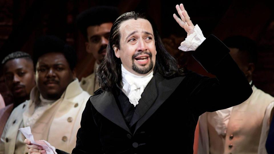 Mandatory Credit: Photo by Carlos Giusti/AP/Shutterstock (10054822p)Lin-Manuel Miranda, composer and creator of the award-winning Broadway musical, Hamilton, offers a message of gratitude after receiving a standing ovation at the end of the play's premiere held at the Santurce Fine Arts Center, in San Juan, Puerto Rico, .