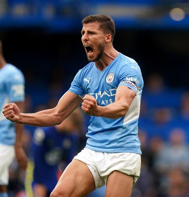Manchester City's Ruben Dias shows his delight at the final whistle against Chelsea