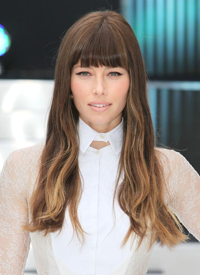 """<p>Super sleek bangs that hit right on your brow bone actually open up your face, rather than detract from it. In Jessica Biel's case, it gives her longer face the illusion of some width, while lighter ends give the whole look loads of depth. Use a tiny round brush give your hair a little bend. </p><p><strong>Try</strong>: <a href=""""https://www.amazon.com/Conair-Quick-Round-Brush-Small/dp/B01AVE89QG?th=1"""" target=""""_blank"""">Conair Quick Blow Dry Pro Small Round Brush</a> ($18, Amazon)</p>"""