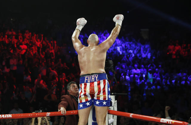Tyson Fury, of England, celebrates after defeating Tom Schwarz, of Germany, during a heavyweight boxing match Saturday, June 15, 2019, in Las Vegas. (AP Photo/John Locher)