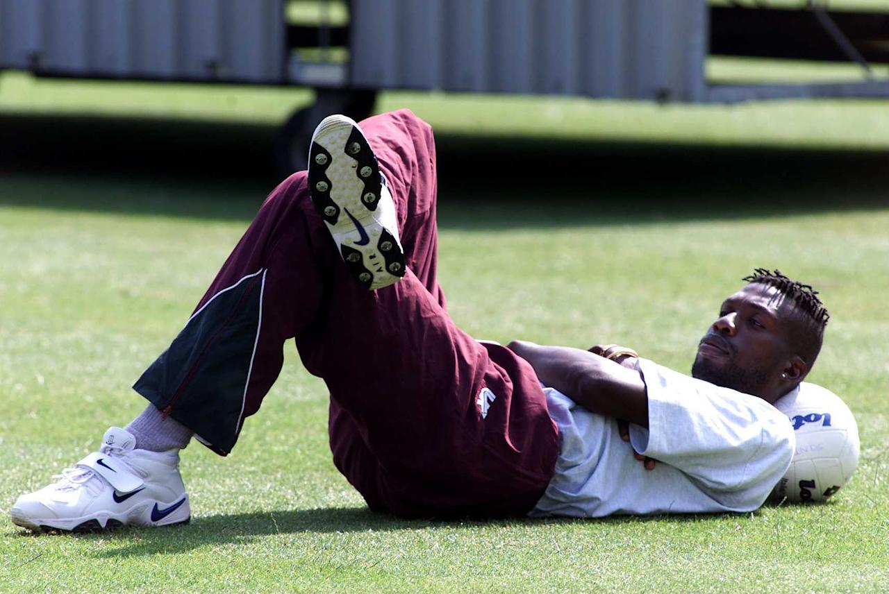 27 Jun 2000:  Curtly Ambrose of the West Indies cricket team takes it easy during net practice in preparation for the 2nd Test match against England at Lords in London. Mandatory Credit: Laurence Griffiths/ALLSPORT