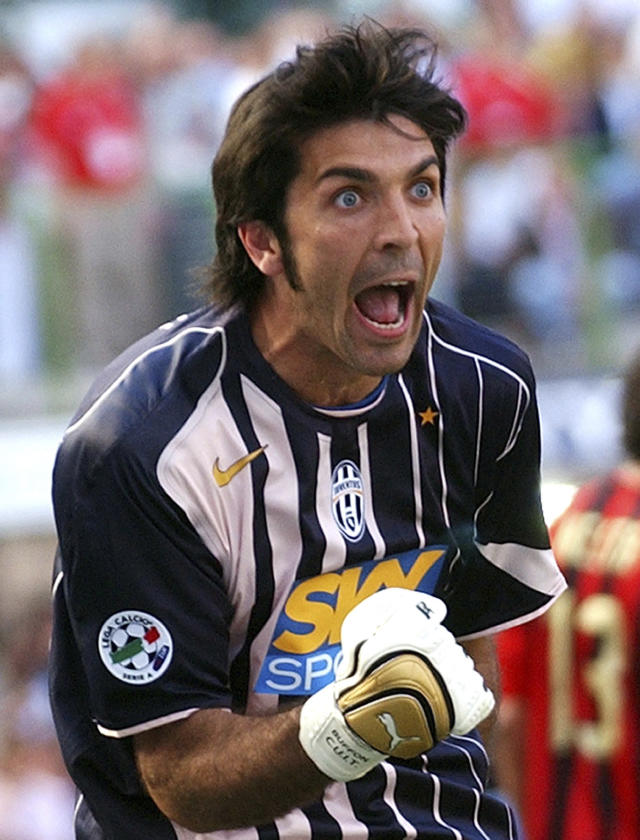 FILE - In this May 8, 2005 file photo, Juventus goalkeeper Gianluigi Buffon reacts at the end of an Italian first division match between AC Milan and Juventus at the San Siro stadium in Milan, Italy. Buffon on Friday, July 6, 2018 has signed for Paris Saint-Germain as a free agent, penning a one-year deal with the option for an additional season. (AP Photo/Alberto Pellaschiar, file)