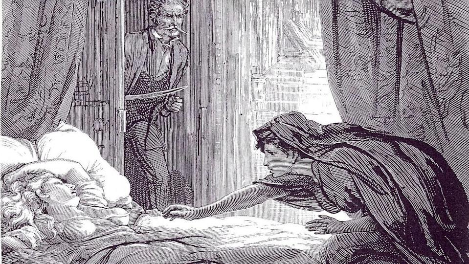 Illustration of Carmilla from The Dark Blue by D. H. Friston, 1872