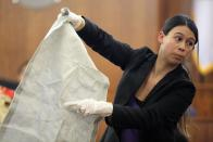 Jessica Robidoux, an investigator from the Massachusetts State Police crime scene response unit, holds up for the jury a piece of mattress backing, taken as evidence from the home of former New England Patriots player Aaron Hernandez, at his murder trial at Bristol County Superior Court, in Fall River, Massachusetts February 24, 2015. Hernandez is accused of the murder of Odin Lloyd in June 2013. REUTERS/Brian Snyder (UNITED STATES - Tags: CRIME LAW SPORT FOOTBALL)