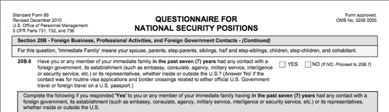The portion of the SF-86 form asking about contact with foreign officials.
