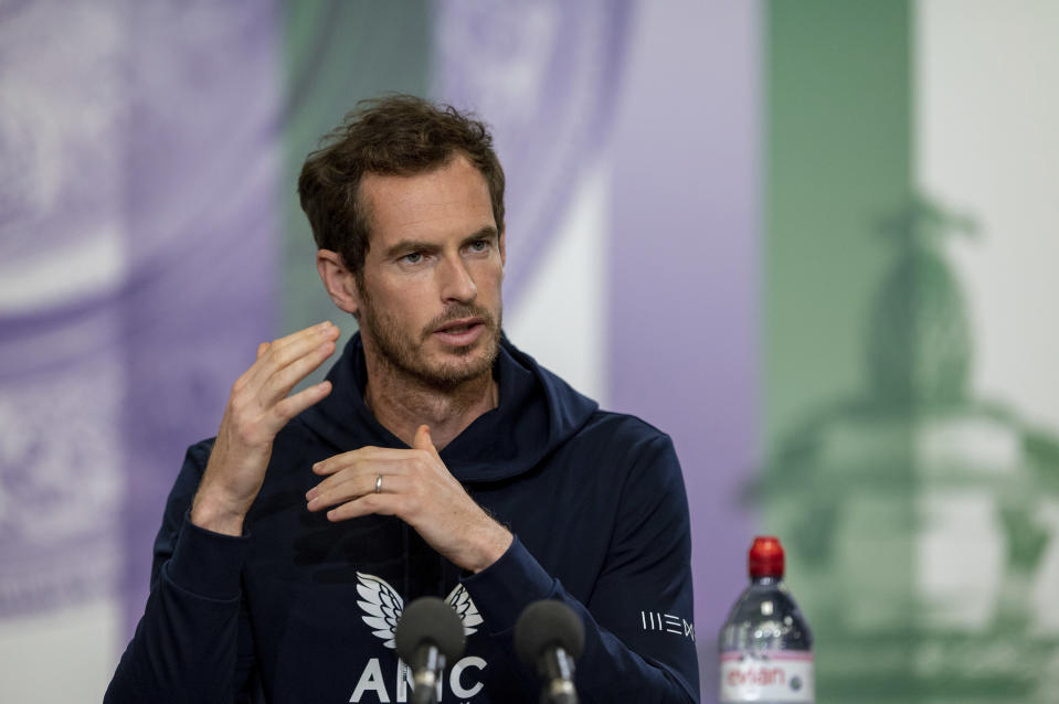Britain's Andy Murray attends a press conference prior to the Wimbledon Tennis Championships in London, Saturday June 26, 2021. (Florian Eisele/Pool via AP)