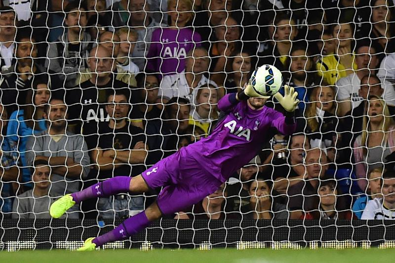 Tottenham Hotspur's French goalkeeper Hugo Lloris makes a save during the UEFA Europa League match against AEL Limassol in London on August 28, 2014 (AFP Photo/Ben Stansall)