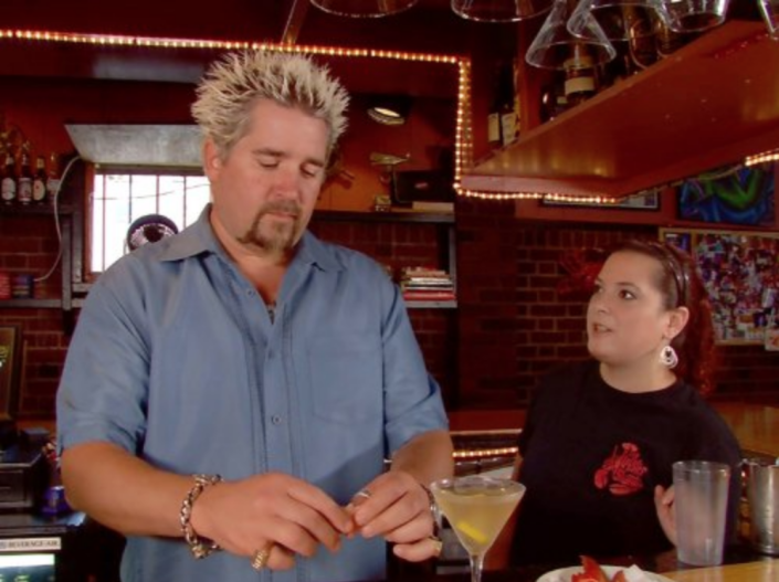 """<p>Guy advises restaurant owners to be prepared for an influx of business after the episode airs. """"We can always tell the day after our episode has been re-run,"""" Sarah Sanneh of Brooklyn's Pies 'n Thighs told <a href=""""https://www.thrillist.com/eat/nation/guy-fieri-diners-drive-ins-dives-behind-scenes"""" rel=""""nofollow noopener"""" target=""""_blank"""" data-ylk=""""slk:Thrillist"""" class=""""link rapid-noclick-resp"""">Thrillist</a>: """"Like, all of a sudden we'll be slammed on some random Tuesday, then we'll realize, 'Oh, they just replayed our show ... that makes sense.'""""</p>"""