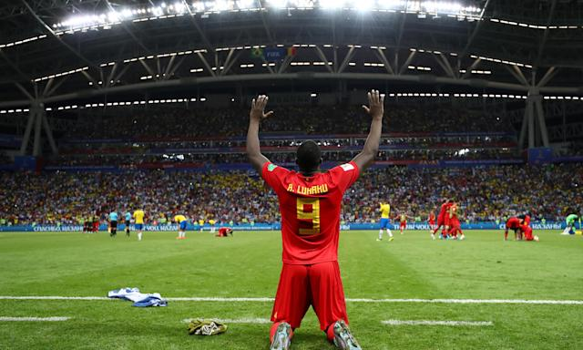 Romelu Lukaku celebrates after Belgium eliminated Brazil. Roberto Martínez's side are now two wins from lifting the trophy.