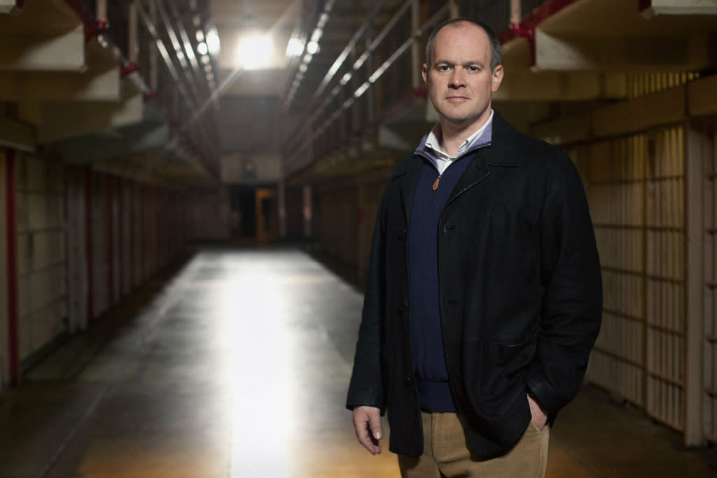 """Host Rich Eisen is pictured on the set of the TNT show, """"The Great Escape,"""" filmed at the infamous Alcatraz prison in San Francisco."""