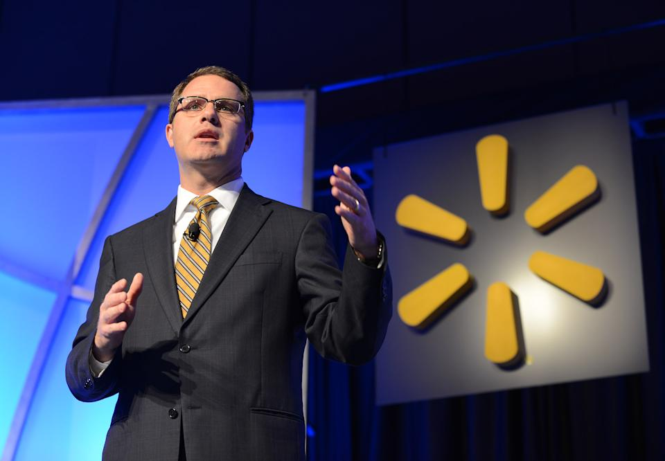 IMAGE DISTRIBUTED FOR WALMART INC. - Walmart CEO Doug McMillon talks to an audience of suppliers and Walmart associates at the Walmart Product Sustainability Expo, on Tuesday, April 29, 2014 in Rogers, Ark. Walmart kicked off its inaugural Sustainable Product Expo, a three day collaboration with its suppliers to expand the availability of products that sustain people and the environment. Participating suppliers represent more than $100 billion in sales at Walmart; underlining the scale and scope of the Expo. (Spencer Tirey/AP Images for Walmart Inc.)
