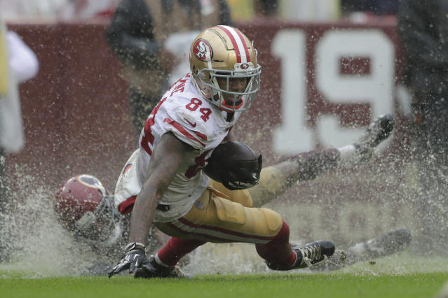 San Francisco 49ers wide receiver Kendrick Bourne rushes the ball in the second half of an NFL football game against the Washington Redskins, Sunday, Oct. 20, 2019, in Landover, Md. (AP Photo/Julio Cortez)