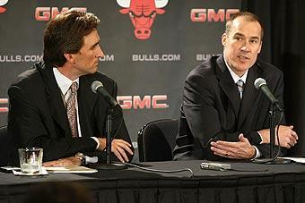John Paxson (right) got into a physical altercation with Bulls coach Vinny Del Negro in March, according to sources