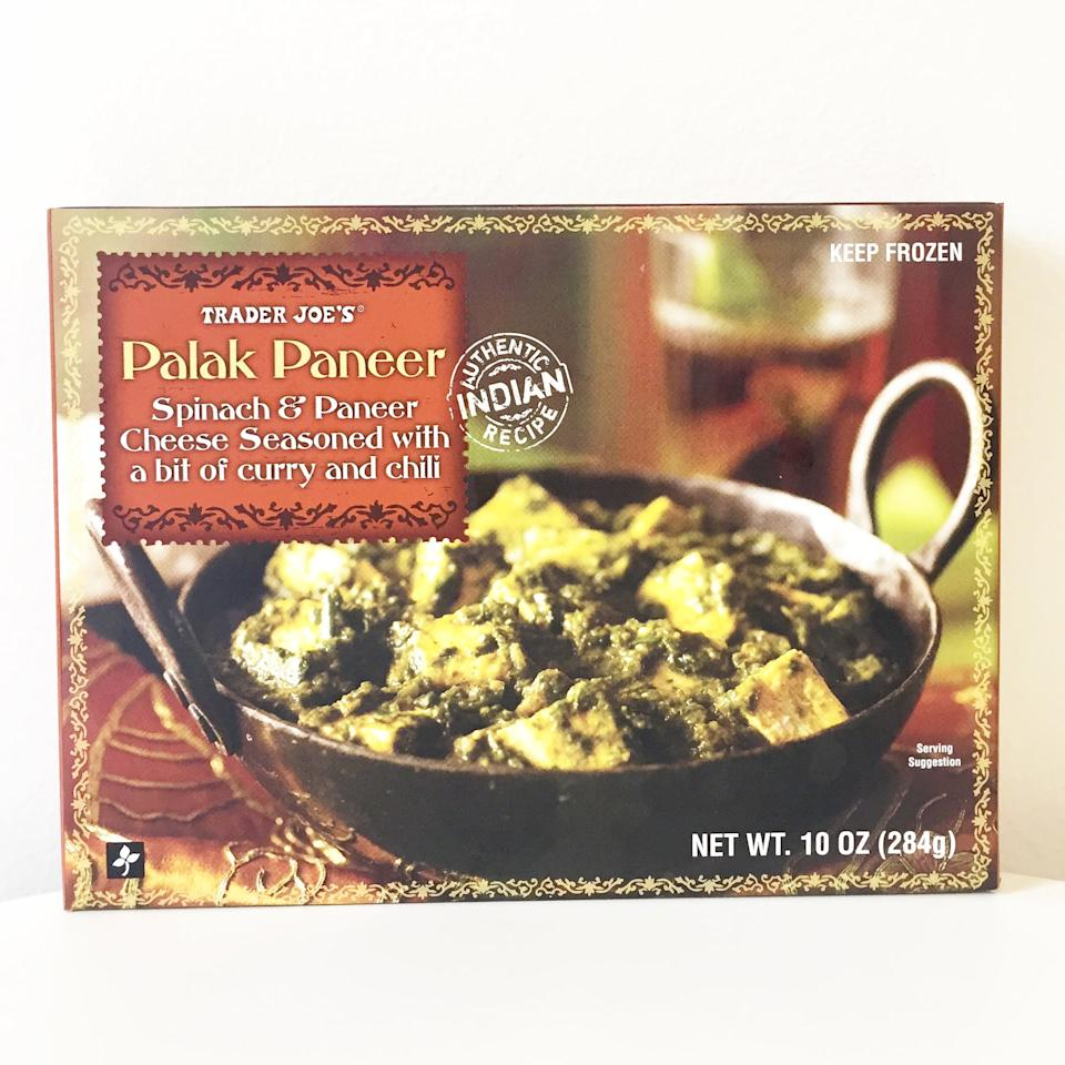 """<p>""""This is my favorite Trader Joe's Indian frozen meal and it pairs perfectly with their garlic naan! The spinach and cheese combo is so delicious."""" - Christen Nino De Guzman, associate, Collective Partnerships </p>"""