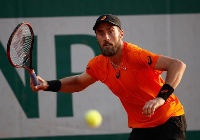 "<a class=""link rapid-noclick-resp"" href=""/olympics/rio-2016/a/1120847/"" data-ylk=""slk:Steve Johnson"">Steve Johnson</a> Jr. won an emotional battle against <a class=""link rapid-noclick-resp"" href=""/olympics/rio-2016/a/1162821/"" data-ylk=""slk:Borna Coric"">Borna Coric</a> at the French Open on Wednesday. (Getty Images)"