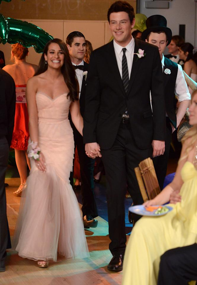 "Rachel (Lea Michele) and Finn (Cory Monteith) attend the prom together in the ""Prom-asaurus"" episode of ""<a target=""_blank"" href=""http://tv.yahoo.com/glee/show/44113"">Glee</a>."""
