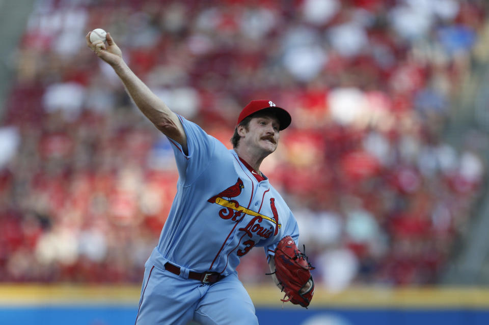 St. Louis Cardinals starting pitcher Miles Mikolas (39) throws against the Cincinnati Reds during the first inning of a baseball game, Saturday, July 20, 2019, in Cincinnati. (AP Photo/Gary Landers)