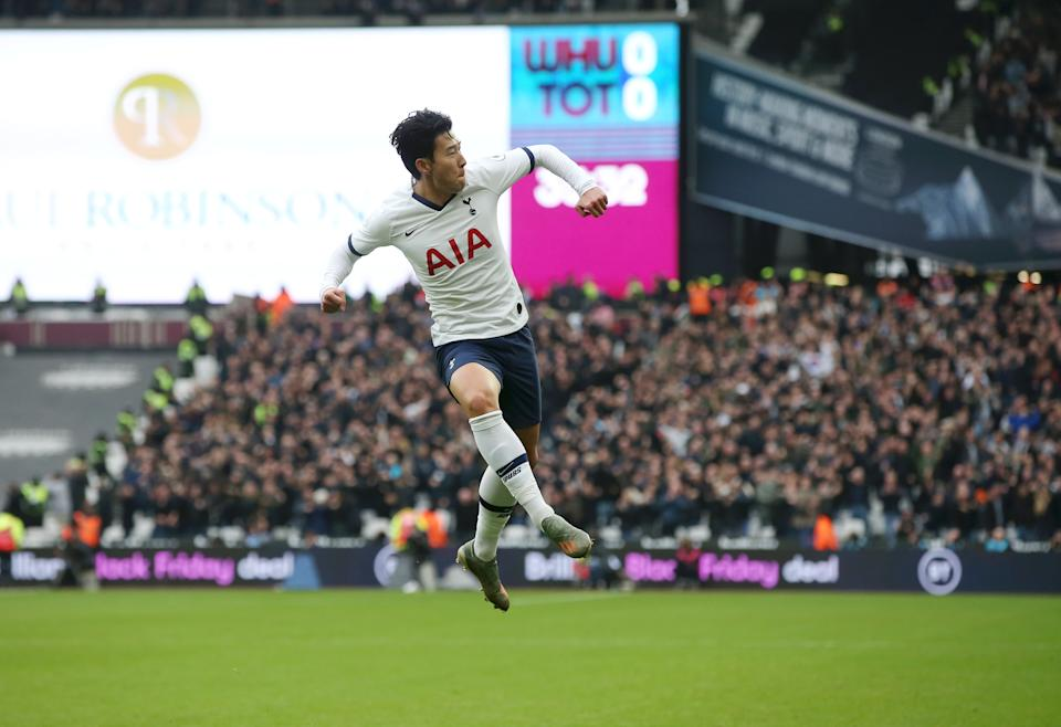 LONDON, ENGLAND - NOVEMBER 23: Heung-Min Son of Tottenham Hotspur celebrates after scoring his team's first goal during the Premier League match between West Ham United and Tottenham Hotspur at London Stadium on November 23, 2019 in London, United Kingdom. (Photo by Tottenham Hotspur FC/Tottenham Hotspur FC via Getty Images)