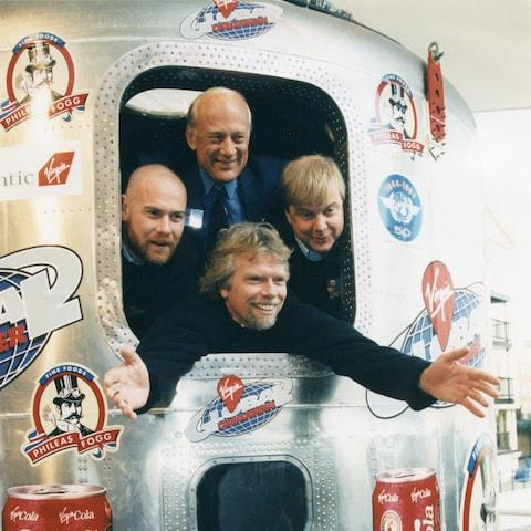 Richard Branson and his co-pilots were joined by Buzz Aldrin in the capsule of the Virgin Global Challenger prior to his 1996 attempt to fly non stop around the world in a balloon. - Credit:  Philip Hollis/ Philip Hollis