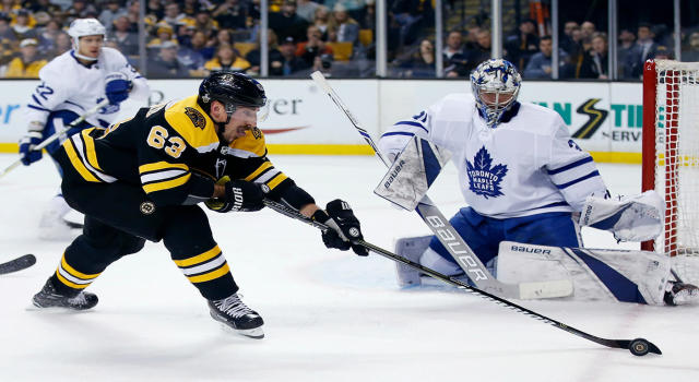 "<a class=""link rapid-noclick-resp"" href=""/nhl/teams/bos"" data-ylk=""slk:Boston Bruins"">Boston Bruins</a>' <a class=""link rapid-noclick-resp"" href=""/nhl/players/4351/"" data-ylk=""slk:Brad Marchand"">Brad Marchand</a> has been warned, stop licking people.  (AP Photo/Michael Dwyer)"