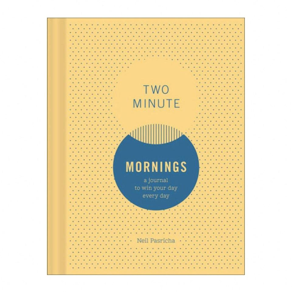 "As Meaghan pointed out, a few minutes goes a long way, and this journal is an answer to anyone struggling to find time. Based on the idea that choices made in the morning can have a major impact on the way your day unfolds, this book includes writing exercises that ask you what you're grateful for, what you're letting go of, and what you'll focus on. If you're feeling off in the a.m., checking in to answer these three simple questions can reframe your mindset for the day ahead. $17, Barnes & Noble. <a href=""https://www.barnesandnoble.com/w/two-minute-mornings-neil-pasricha/1125892173"" rel=""nofollow noopener"" target=""_blank"" data-ylk=""slk:Get it now!"" class=""link rapid-noclick-resp"">Get it now!</a>"