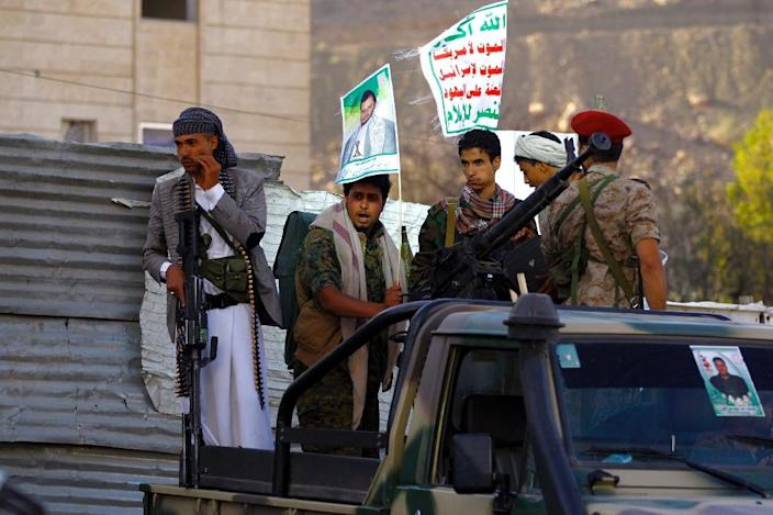 "Members of the Shiite Huthi movement take part in a demonstration in Sanaa on April 22, 2015, against the Saudi-led military ""Decisive Storm"" air campaign (AFP Photo/Mohammed Huwais)"