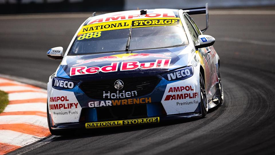 Jamie Whincup, pictured here driving at Mount Panorama.