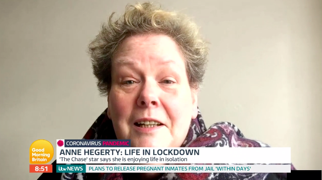 Anne Hegerty appeared on Good Morning Britain to discuss how she was faring in lockdown. (ITV)