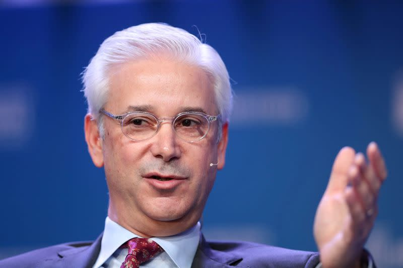 FILE PHOTO: Charles Scharf, Chairman and CEO, BNY Mellon, speaks at the 2019 Milken Institute Global Conference in Beverly Hills