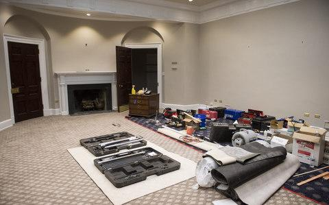 The Roosevelt Room is seen as renovations are underway at the White House, in Washington, D.C. on August 11, 2017. While President Trump is in New Jersey on a 17-day vacation workers are updating and repairing the West Wing, including structural repairs, IT and HVAC improvements and generic cosmetic upgrades - Credit:  Barcroft Media