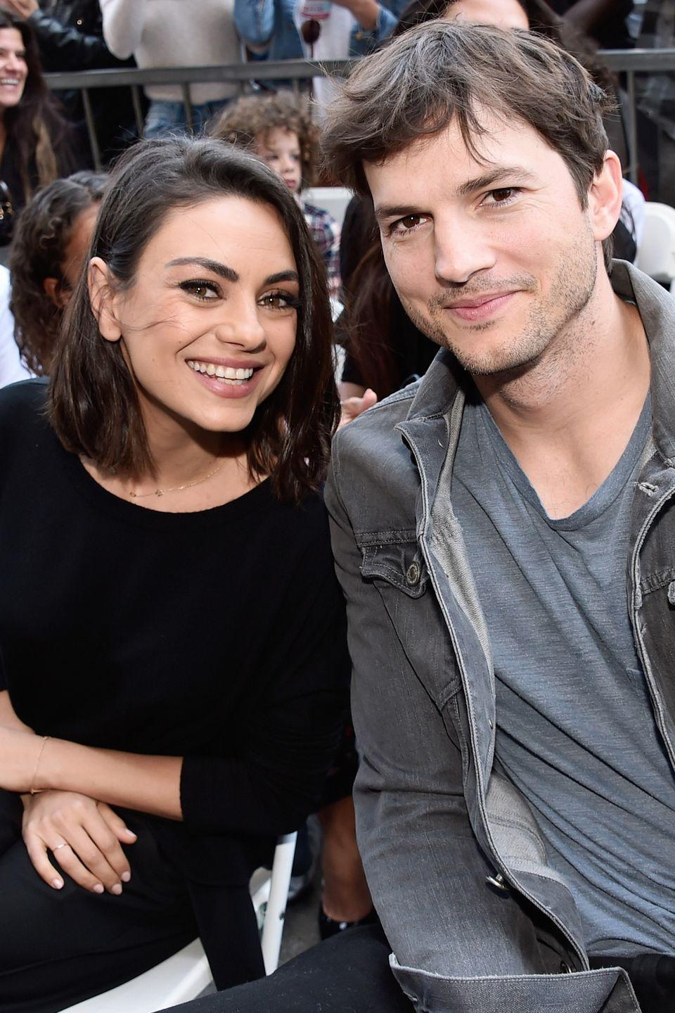 "<p>Mila Kunis and Ashton first meet on the set of their hilarious television show <em>That '70s Show</em>. At the time Mila was in a <a href=""https://www.harpersbazaar.com/celebrity/latest/a22532037/mila-kunis-macaulay-culkin-breakup/"" rel=""nofollow noopener"" target=""_blank"" data-ylk=""slk:long-term relationship"" class=""link rapid-noclick-resp"">long-term relationship</a> with McCully Culkin and Kutcher eventually married, then divorced Demi Moore. In 2012, the two <a href=""https://www.thisisinsider.com/mila-kunis-ashton-kutcher-relationship-history-2018-8#february-2014-ashton-and-mila-got-engaged-12"" rel=""nofollow noopener"" target=""_blank"" data-ylk=""slk:reconnected"" class=""link rapid-noclick-resp"">reconnected</a> at the Golden Globes. and were engaged by 2014.</p><p>""We started dating with the idea we're both never going to get married,"" <a href=""https://www.elle.com/culture/celebrities/news/a37934/mila-kunis-and-ashton-kutcher-friends-with-benefits-love-story/"" rel=""nofollow noopener"" target=""_blank"" data-ylk=""slk:Kunis said to Howard Stern"" class=""link rapid-noclick-resp"">Kunis said to Howard Stern</a>. ""[Kutcher] just got out of a marriage. I got out of a long relationship. I was single and having the best time ever. I was totally dating, having a great time, and I was like, 'I'm never getting married.' He's like, 'Great, neither am I!' And we're like shaking hands on it and we're like, 'Life is great!' A year later, we're like, 'Tomorrow, let's get married.'""</p><p>Today, the couple have two children together: Dimitri Portwood, 2, and Wyatt Isabelle, 4. </p>"