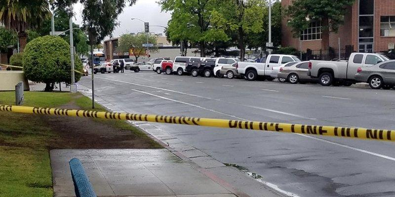 A road is blocked by police tape after a multiple victim shooting incident in downtown Fresno, California, U.S. April 18, 2017. Fresno County Sheriff/Handout via REUTERS