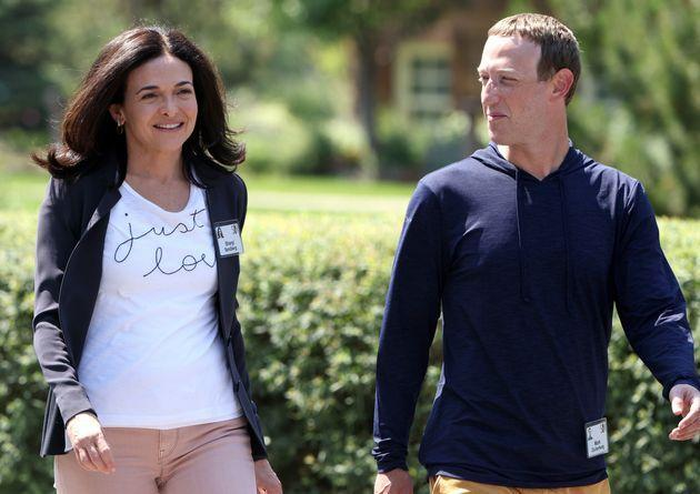SUN VALLEY, IDAHO - JULY 08: CEO of Facebook Mark Zuckerberg walks with COO of Facebook Sheryl Sandberg after a session at the Allen & Company Sun Valley Conference on July 08, 2021 in Sun Valley, Idaho. After a year hiatus due to the COVID-19 pandemic, the world's most wealthy and powerful businesspeople from the media, finance, and technology worlds will converge at the Sun Valley Resort for the exclusive week-long conference. (Photo by Kevin Dietsch/Getty Images) (Photo: Kevin Dietsch via Getty Images)