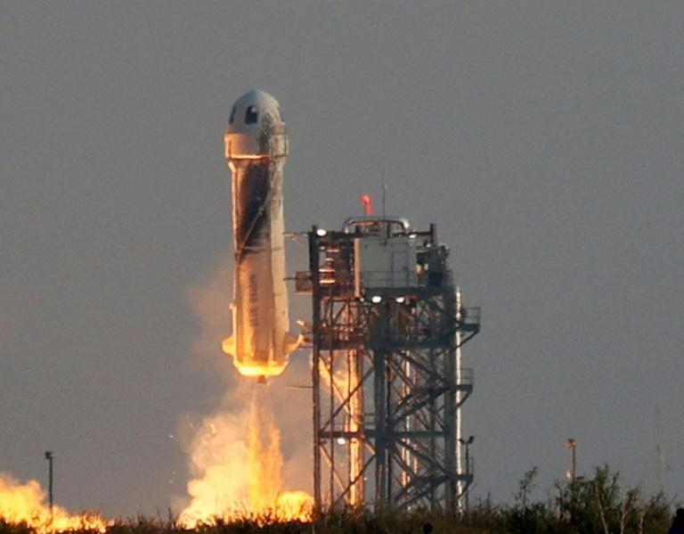Blue Origin, the space company owned by Amazon's Jeff Bezos, said its next space flight will take place on October 12 (AFP/JOE RAEDLE)