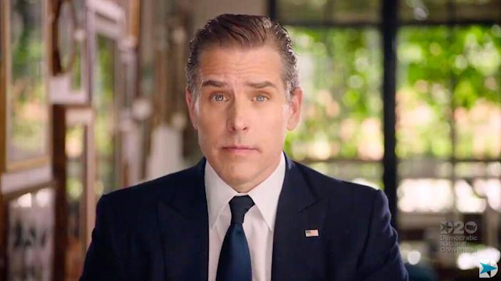 In this file video grab made on August 20, 2020 from the online broadcast of the Democratic National Convention, Democratic presidential nominee Joe Biden's son Hunter Biden speaks during the last day of the convention.