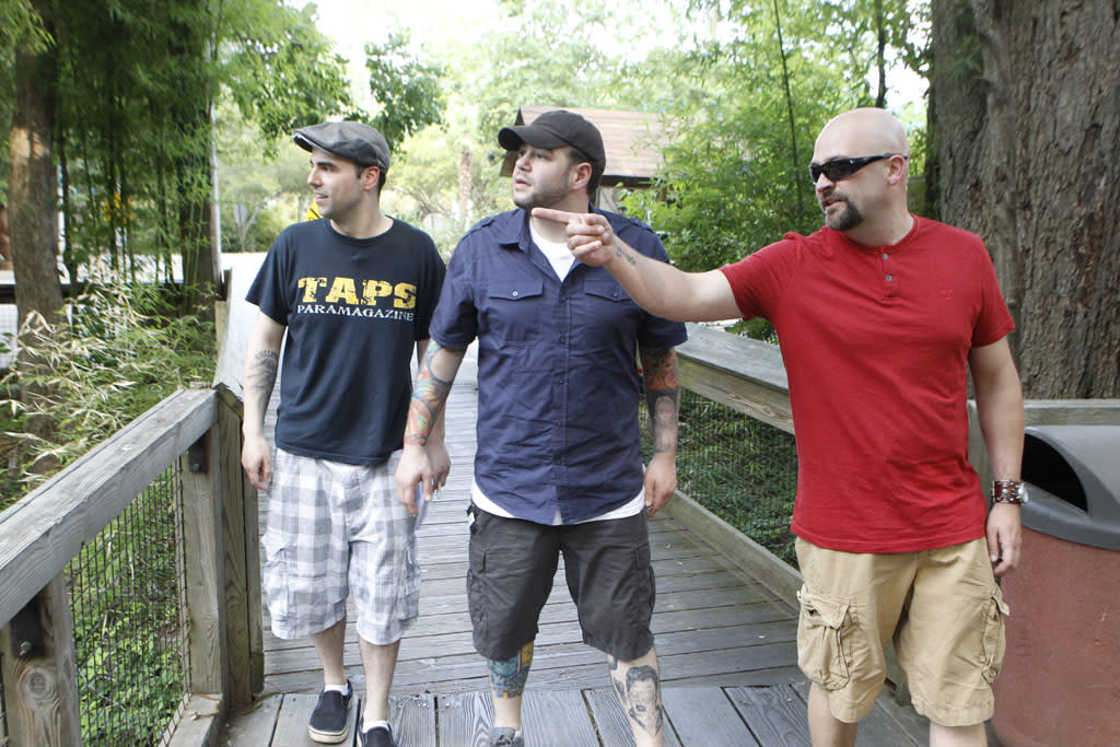 "Dave Tango, Steve Gonsalves and Jason Hawes in the ""Ghost Hunters"" episode, ""Don't Feed the Apparition."""