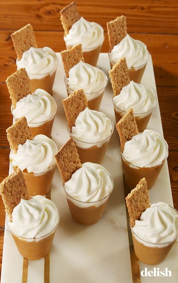 """<p>You can never have too much pumpkin in the fall. There's a reason pumpkin spiced-everything is a thing. And now, we may never eat pumpkin pie without Fireball again.</p><p>Get the recipe from <a href=""""https://www.delish.com/cooking/recipe-ideas/a23724315/pumpkin-pie-pudding-shots-recipe/"""" target=""""_blank"""">Delish</a>.</p>"""