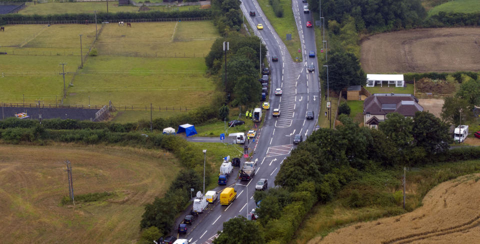 The scene at Ufton Lane, near Sulhamstead, Berkshire, where Pc Andrew Harper, a Thames Valley Police officer, was killed in the line of duty whilst attending a reported burglary on Thursday evening (Picture: Steve Parsons/PA Wire)